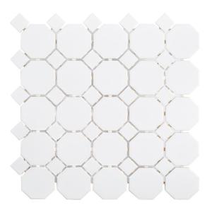 Retro Octagon White Dot 11-1/2 in. x 11-1/2 in. x 6 mm Matte Porcelain Mosaic Floor and Wall Tile