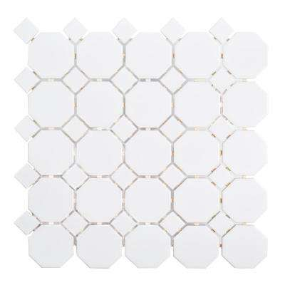 Retro Octagon White Dot 11-1/2 in. x 11-1/2 in. x 6 mm Porcelain Mosaic Tile