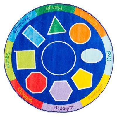 Geometric Shapes Blue 5 ft. x 5 ft. Round Area Rug