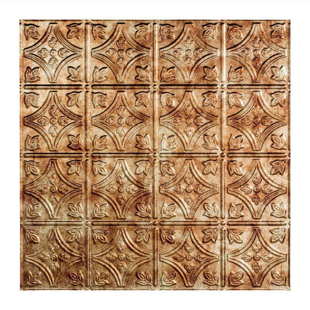 Traditional 1 - 2 ft. x 2 ft. Vinyl Lay-In Ceiling Tile in Bermuda Bronze