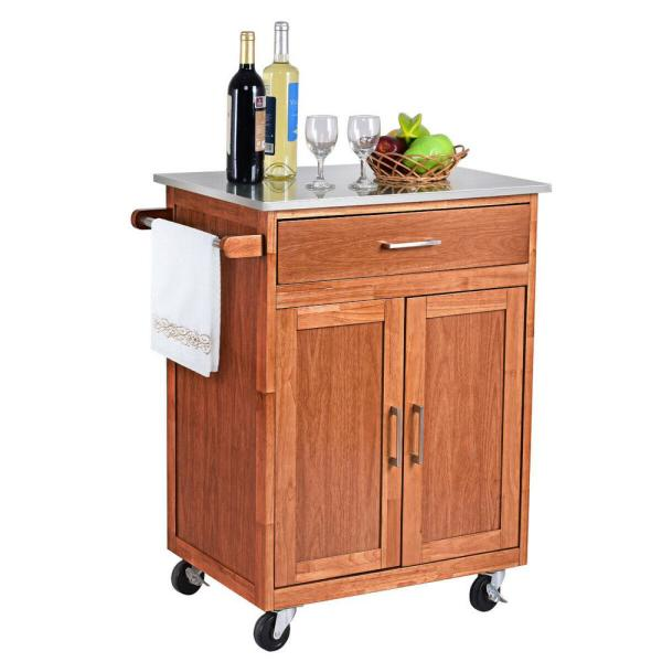 Natural Wood Kitchen Trolley Cart Island Stainless Steel Top Rolling Storage Cabinet Island New