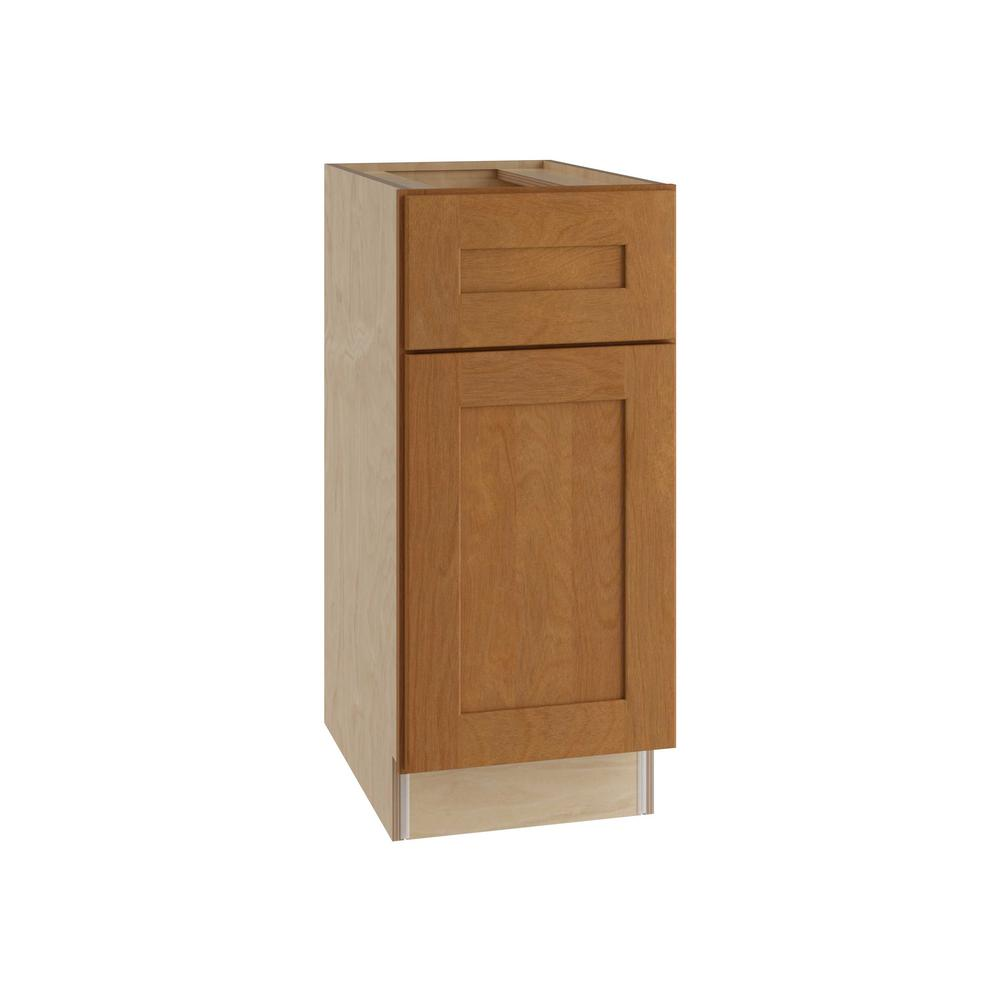 Home Decorators Collection Hargrove Assembled 18x34.5x24 in. Single Door, Drawer and 2 Rollout Trays Hinge Right Base Kitchen Cabinet in Cinnamon
