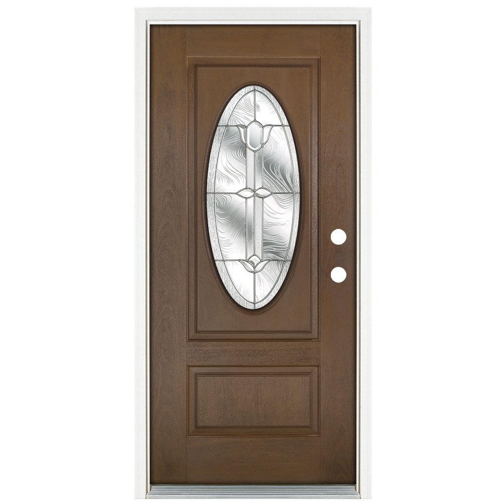 36 in. x 80 in. Medium Oak Left-Hand Inswing Flores Oval-Lite Prestige Stained Fiberglass Prehung Front Door