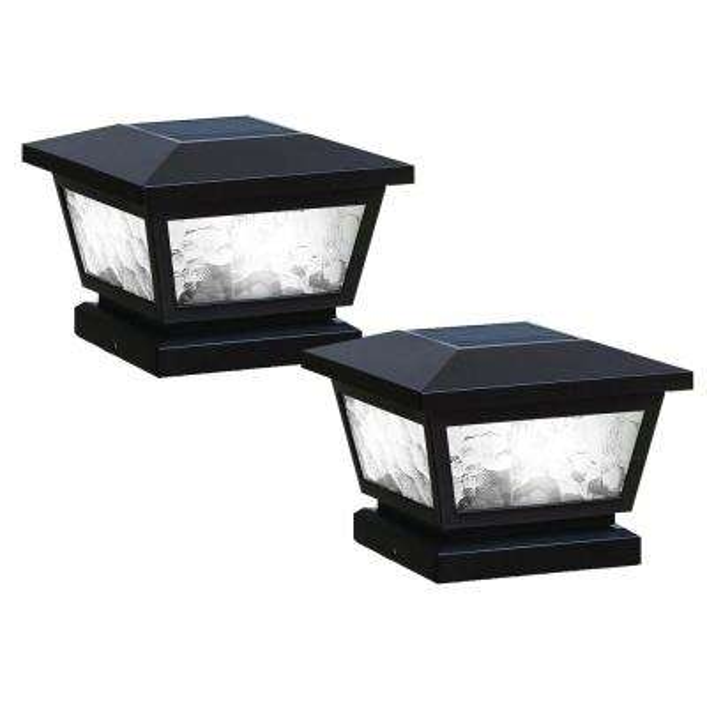 5 in. x 5 in./ 4 in. x 4 in. Black ABS Outdoor Fairmont Solar Post Cap (2-Pack)