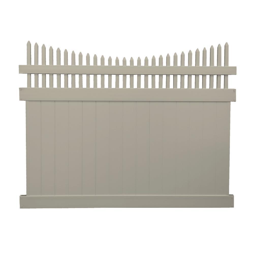 Halifax 7 ft. x 8 ft. Khaki Vinyl Privacy Fence Panel Kit