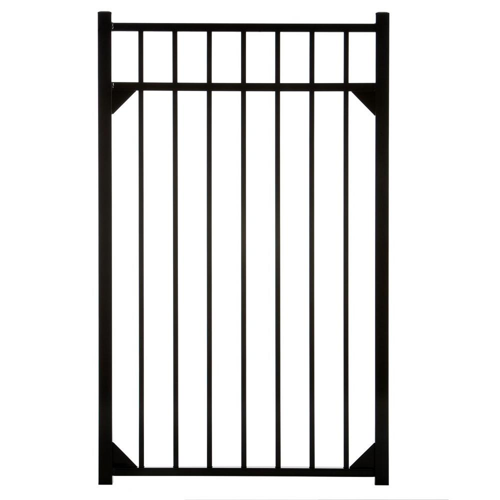 DIY Meriden 47 in. x 54 in. Single Walk Aluminum Gate, Black