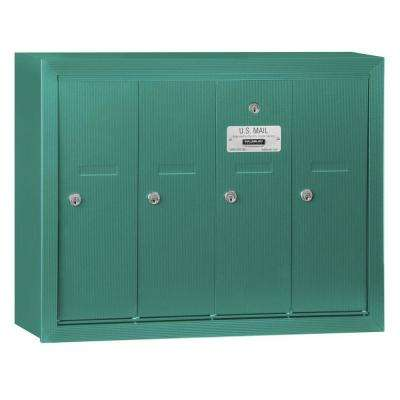 Green Surface-Mounted USPS Access Vertical Mailbox with 4 Door