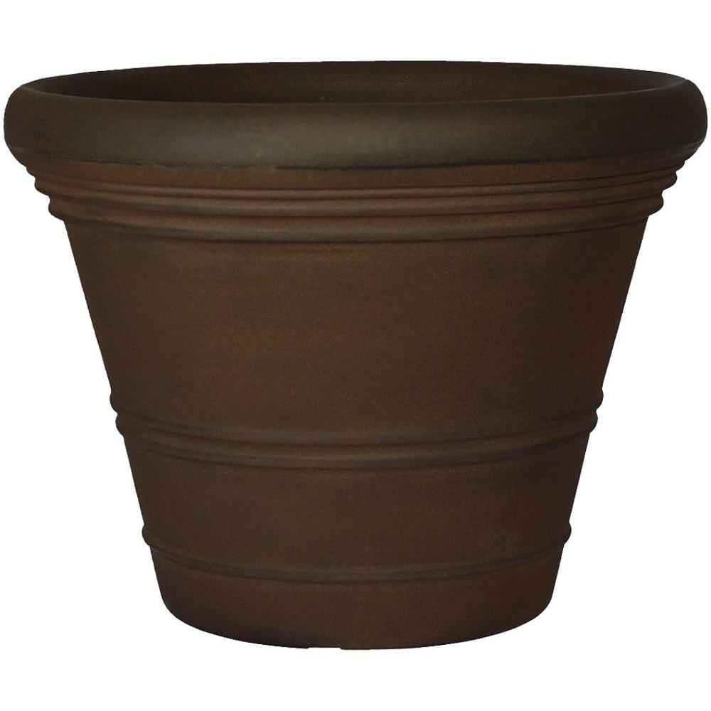 Planters Online 18 in. Round Rust Resin Ancona Planter
