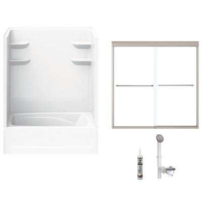 60 in. x 36 in. x 79 in. Bath and Shower Kit with Left-Hand Drain and Door in White and Brushed Nickel Hardware