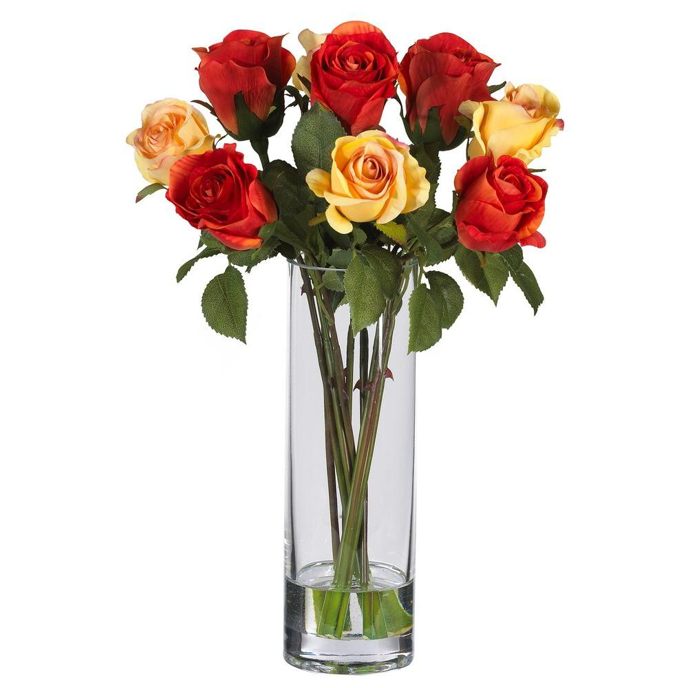 Rose Silk Flower Arrangement with Glass Vase  sc 1 st  Home Depot & Nearly Natural 16 in. Rose Silk Flower Arrangement with Glass Vase ...