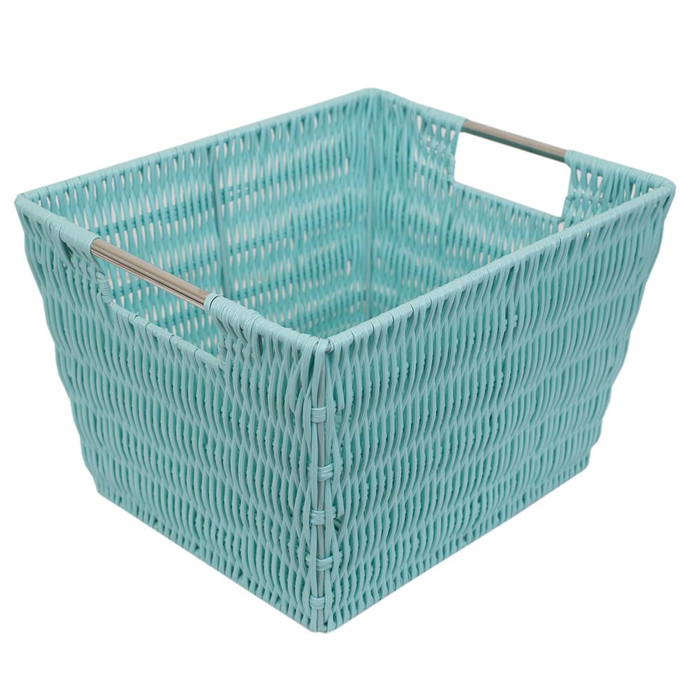Intricate Decorative Weave 10 In X 8 Turquoise Basket