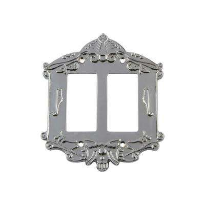 Victorian Switch Plate with Double Rocker in Bright Chrome