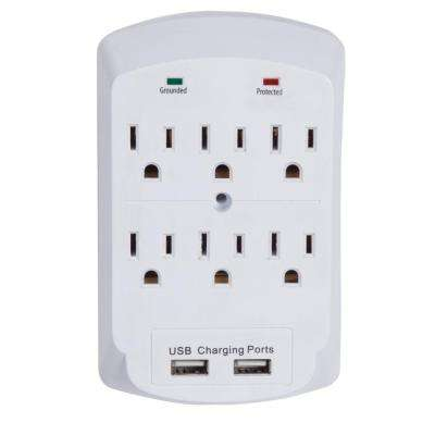 6-Outlet 2 USB Port Surge Protector Wall Tap