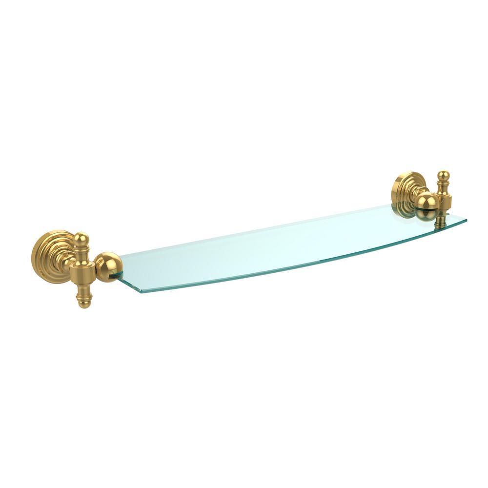 Allied Brass Retro Wave 18 in. Glass Shelf in Unlacquered Brass-RW ...