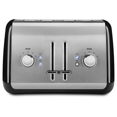 4-Slice Onyx Black and Silver Wide Slot Toaster with Crumb Tray