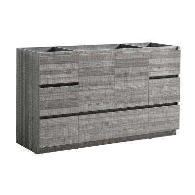 Lazzaro 60 in. Modern Bath Vanity Cabinet Only in Glossy Ash Gray
