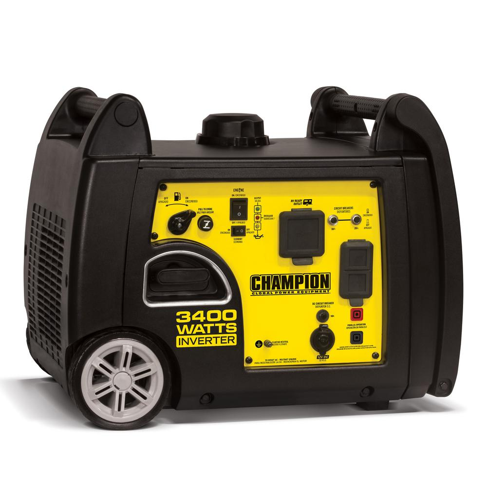 8d7401fc46 Champion Power Equipment 3400-Watt Gasoline Powered Recoil Start Portable  Inverter Generator with 192 cc