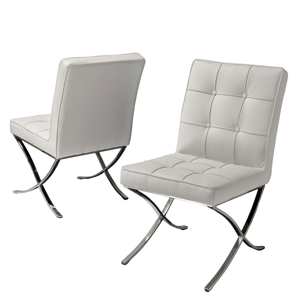 Noble House Milania White Leather Dining Chairs (Set of 2)