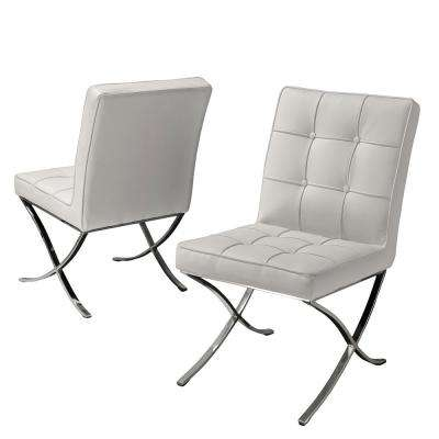 Milania White Leather Dining Chairs (Set of 2)