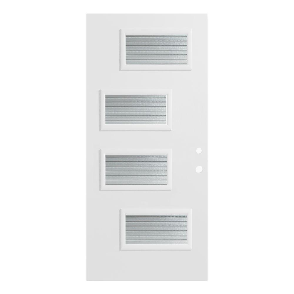 32 in. x 80 in. Beatrice Masterline 4 Lite Painted White