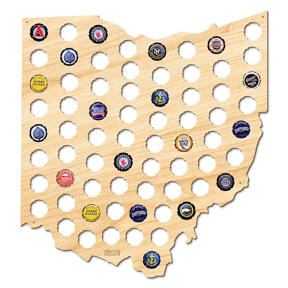 After 5 Workshop 17 in. x 16 in. Large Ohio Beer Cap Map-4745 - The ...