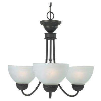 Westlake 3-Light Oil Rubbed Bronze Chandelier with Frosted Glass Shades