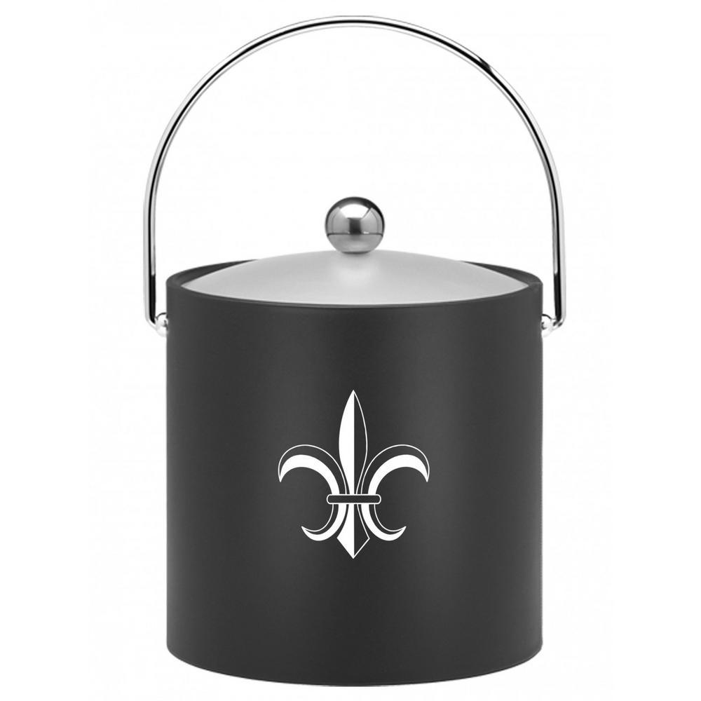 Kasualware Fleur de Lis 3 Qt. Ice Bucket in Black