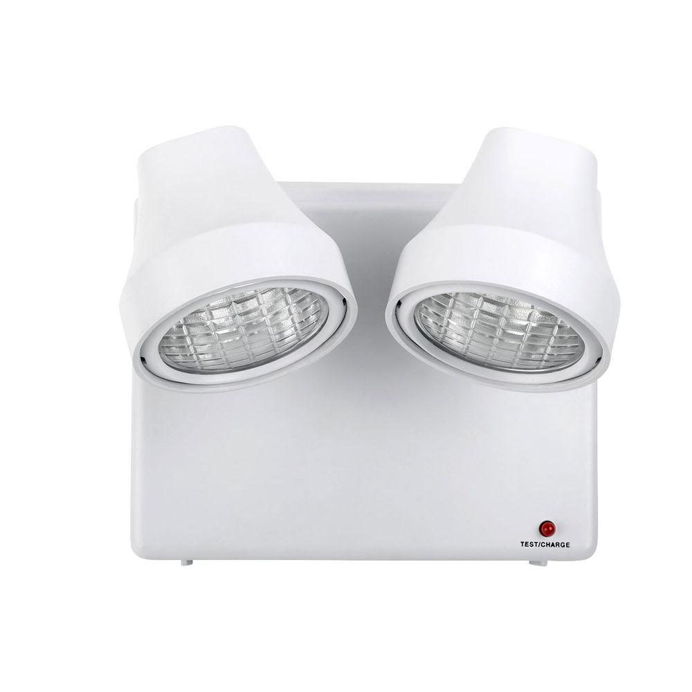 Globe Electric 2-Light 4 Hour White Emergency Security Wall-Light Box with 6 ft. Power Cord