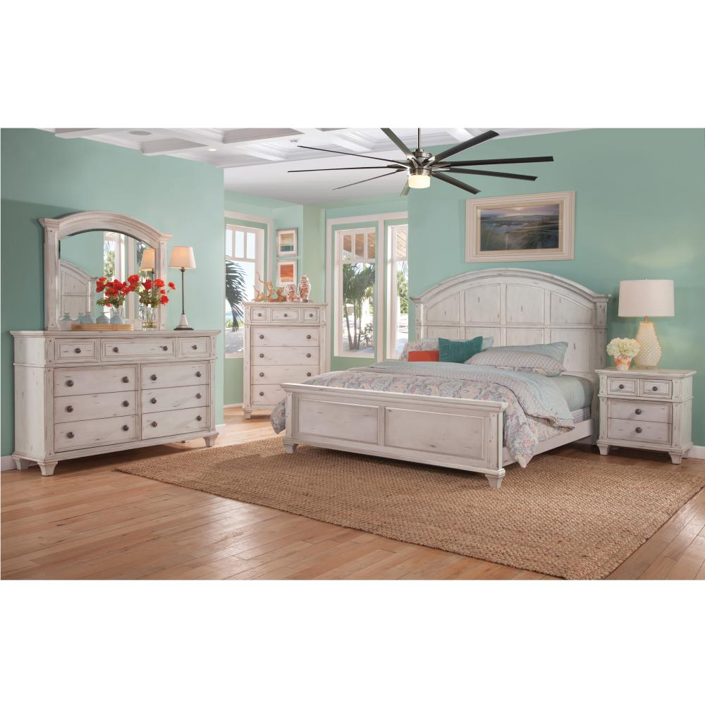 American Woodcrafters Sedona 9 Drawer Antique Cobblestone White