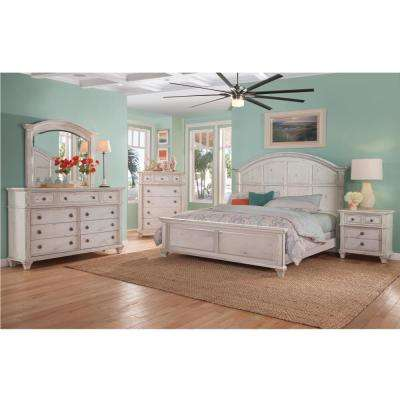 Sedona 9-Drawer Antique Cobblestone White Dresser with Mirror