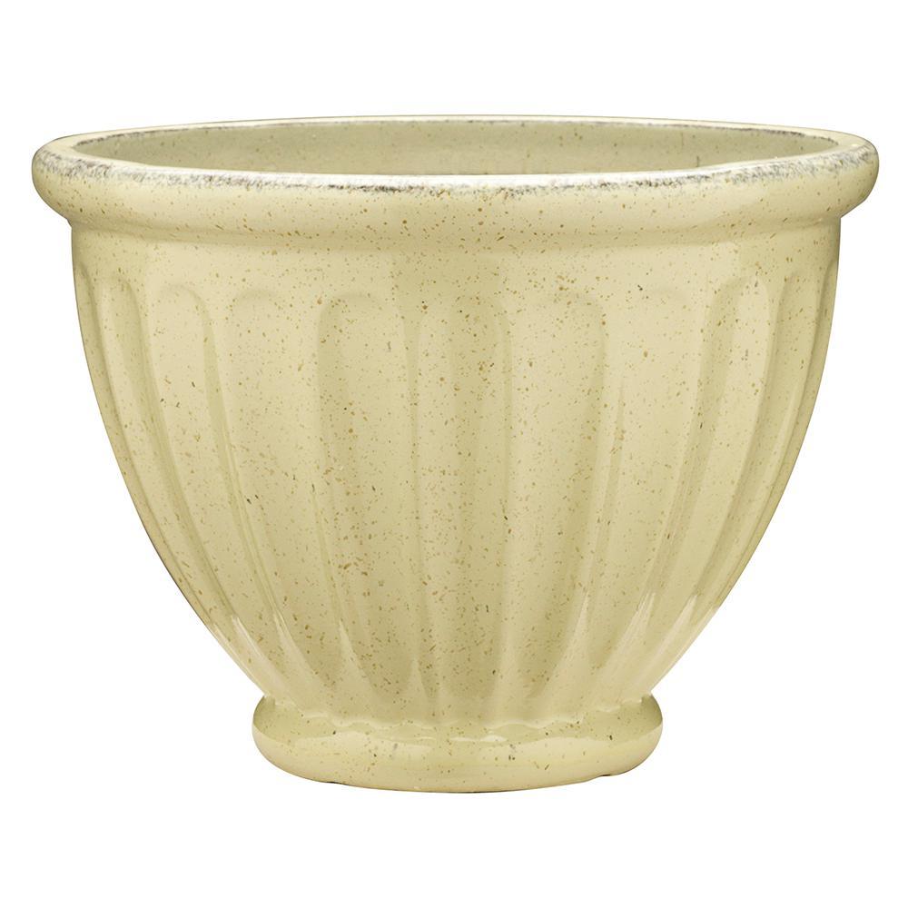 19 in. Dia Caylo Irish Cream Ceramix Glaze Planter