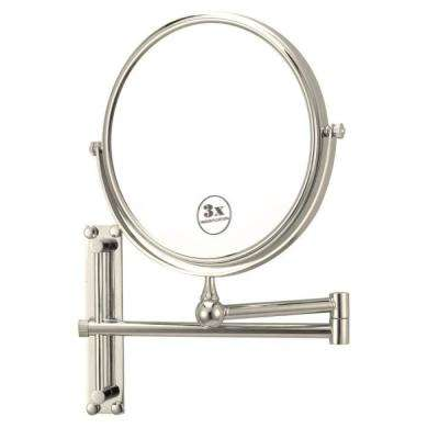 Glimmer 8 in. x 8 in. Wall Mounted LED 3x Round Makeup Mirror in Satin Nickel Finish