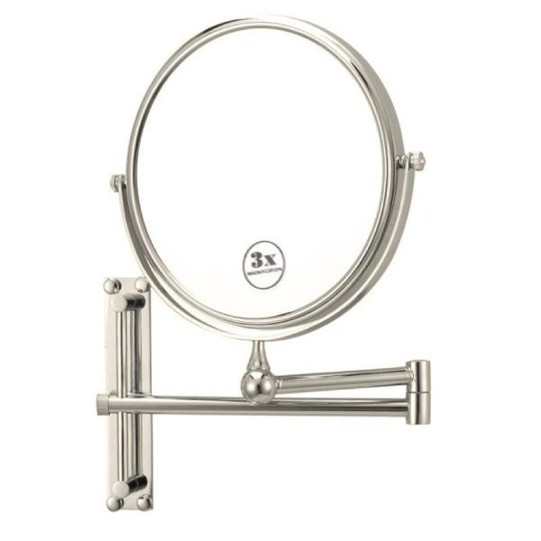 Glimmer 8 in. x 8 in. Wall Mounted 3x Round Makeup Mirror in Satin Nickel Finish