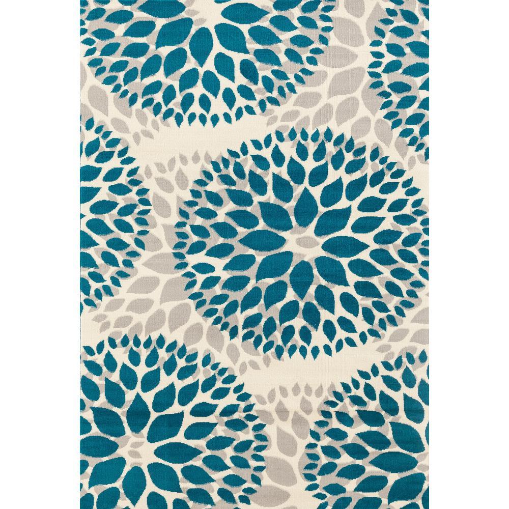 Modern Floral Design Blue 5 ft. x 7 ft. Area Rug