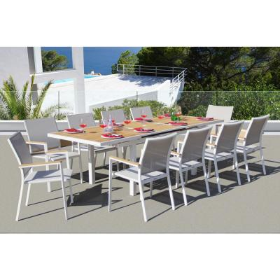 Essence White 11-Piece Aluminum Outdoor Dining Set with Sling Set in Mouse Grey