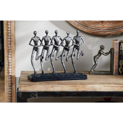 Textured Silver Human Figurines Running Sculpture on Black Base