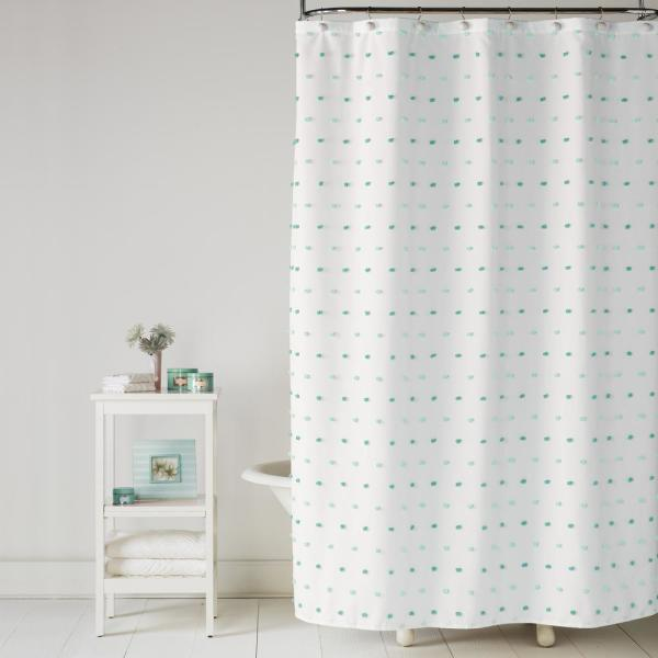 Saturday Knight Colorful Dot 72 In Aqua Shower Curtain