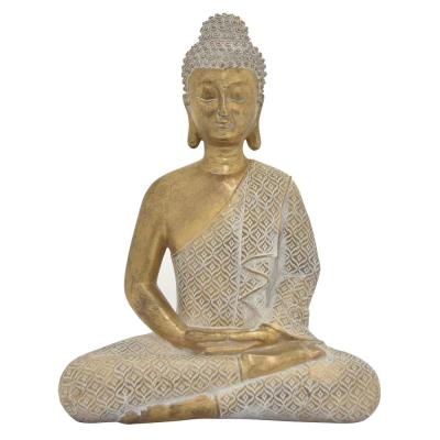 11 in. L x 6 in. W x 14 in. H Meditating Buddha in Gold Resin / Magnesium