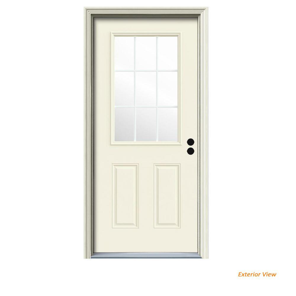 30 in. x 80 in. 9 Lite Vanilla Painted Steel Prehung Left-Hand Inswing Front Door w/Brickmould