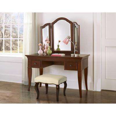 Burnished Oak Hamilton Backless Vanity Stool