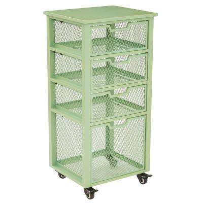 Clayton Green Metal Frame 4-Drawer Rolling Cart