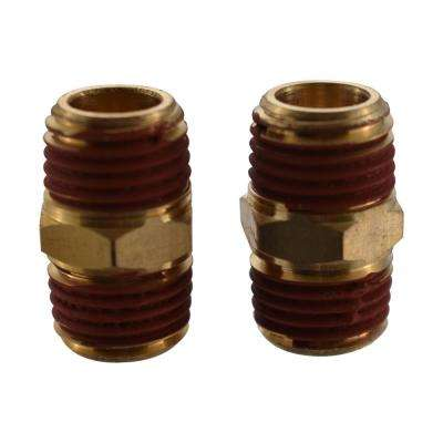 1/4 in. Male/Male Connectors Brass (2 Per Pack)