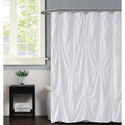 Georgia Rouched 72 in. x 72 in. White Shower Curtain