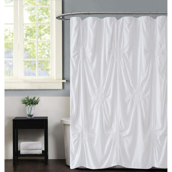 Christian Siriano Georgia Rouched 72 in. x 72 in. White Shower
