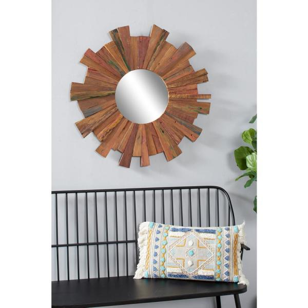 Medium Round Golden Brown Casual Mirror (35.5 in. H x 35.5 in. W)