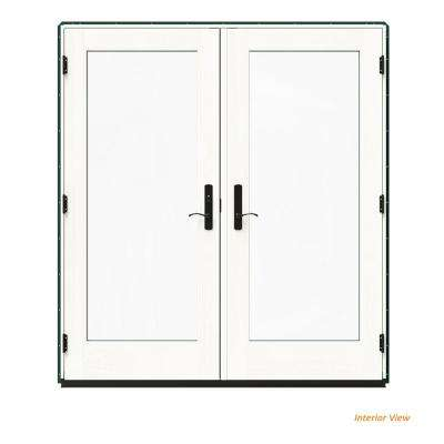 72 in. x 80 in. W-4500 Green Clad Wood Right-Hand Full Lite French Patio Door w/White Paint Interior