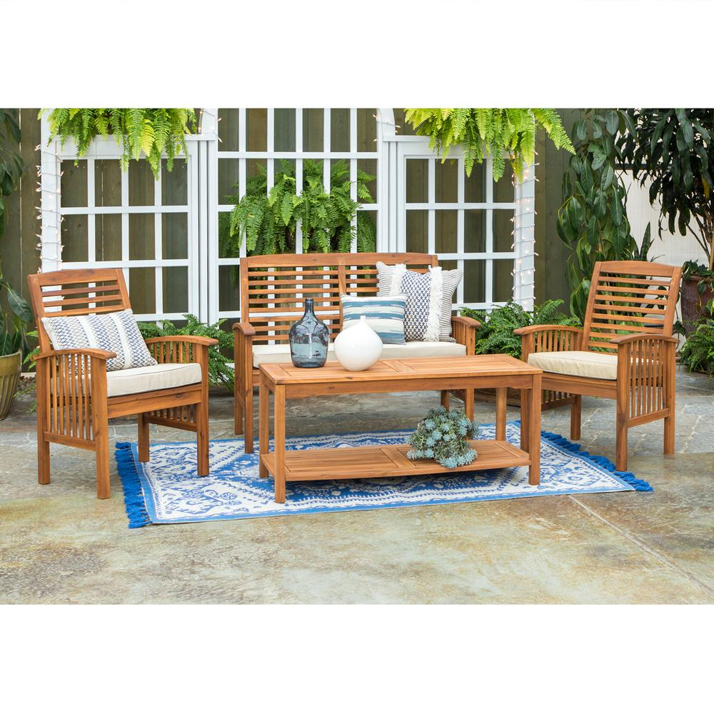 Walker Edison Furniture Company 4 Piece Acacia Wood Light Brown Outdoor Chat Set With White