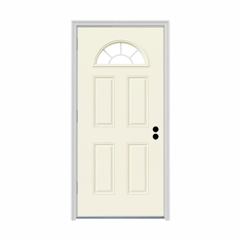 32 in. x 80 in. Fan Lite Vanilla Painted Steel Prehung Right-Hand Outswing Front Door w/Brickmould