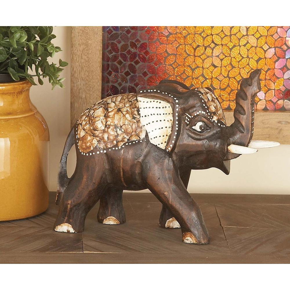 8 in. Elephant Decorative Figurine in Stained Mahogany Brown