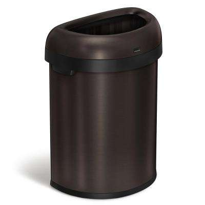 80-Liter Dark Bronze Heavy-Gauge Stainless Steel Semi-Round Open Top Trash Can